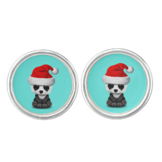 Baby Panda Bear Wearing a Santa Hat Cufflinks