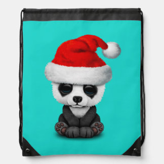 Baby Panda Bear Wearing a Santa Hat Drawstring Bag