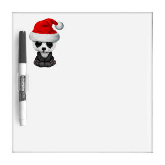 Baby Panda Bear Wearing a Santa Hat Dry Erase Board