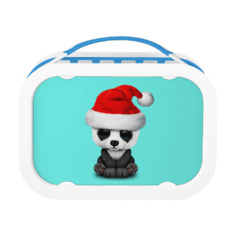 Baby Panda Bear Wearing a Santa Hat Lunch Box