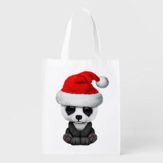 Baby Panda Bear Wearing a Santa Hat Reusable Grocery Bag