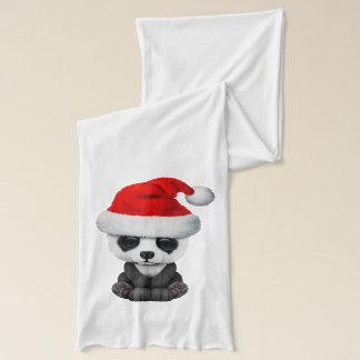 Baby Panda Bear Wearing a Santa Hat Scarf