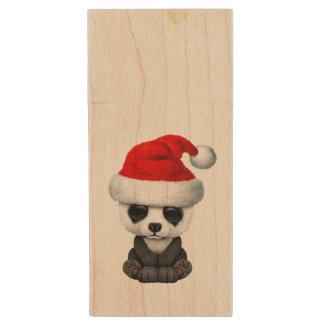 Baby Panda Bear Wearing a Santa Hat Wood USB Flash Drive