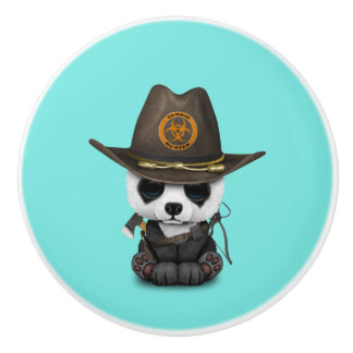 Baby Panda Bear Zombie Hunter Ceramic Knob