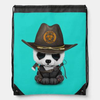 Baby Panda Bear Zombie Hunter Drawstring Bag