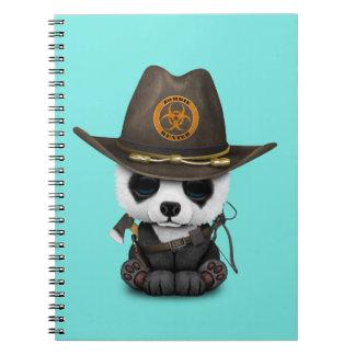 Baby Panda Bear Zombie Hunter Spiral Notebook