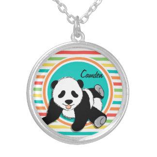 Baby Panda Bright Rainbow Stripes Custom Necklace
