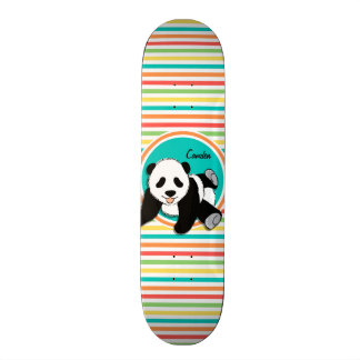 Baby Panda Bright Rainbow Stripes Custom Skate Board