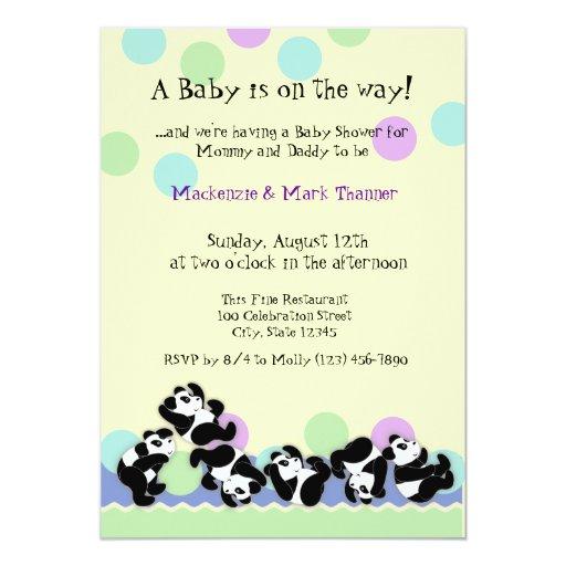 Baby Panda Mania 13 Cm X 18 Cm Invitation Card