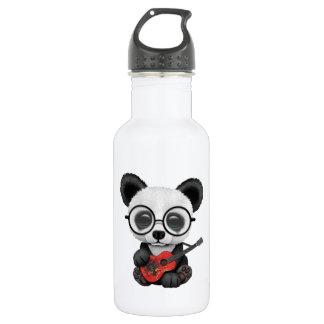 Baby Panda Playing Albanian Flag Guitar 532 Ml Water Bottle