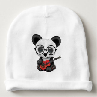 Baby Panda Playing Albanian Flag Guitar Baby Beanie