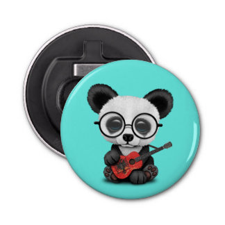 Baby Panda Playing Albanian Flag Guitar Bottle Opener