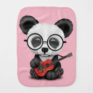 Baby Panda Playing Albanian Flag Guitar Burp Cloth