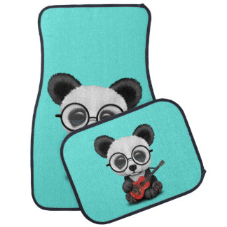 Baby Panda Playing Albanian Flag Guitar Car Mat