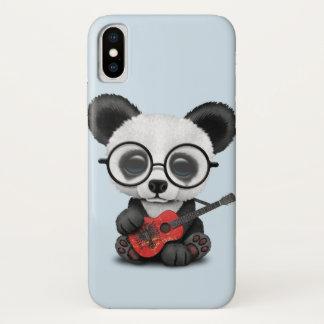 Baby Panda Playing Albanian Flag Guitar iPhone X Case