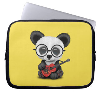 Baby Panda Playing Albanian Flag Guitar Laptop Sleeve
