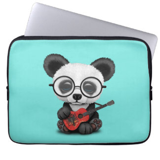 Baby Panda Playing Albanian Flag Guitar Laptop Sleeve