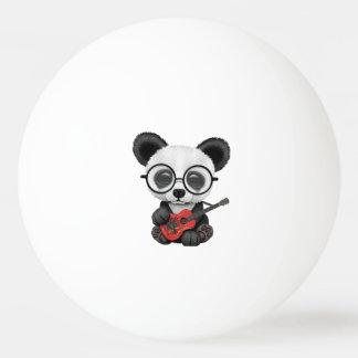 Baby Panda Playing Albanian Flag Guitar Ping Pong Ball