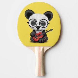Baby Panda Playing Albanian Flag Guitar Ping Pong Paddle