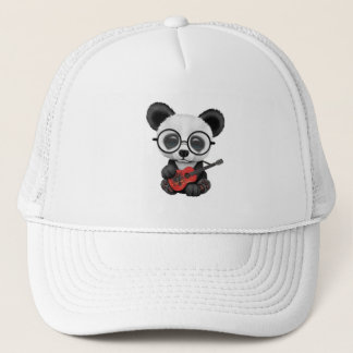 Baby Panda Playing Albanian Flag Guitar Trucker Hat