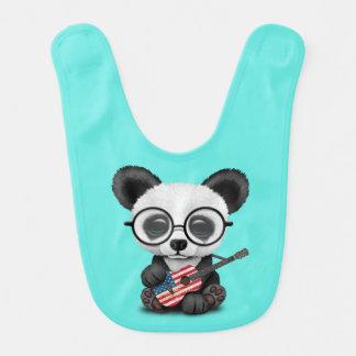 Baby Panda Playing American Flag Guitar Bib