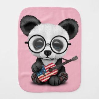 Baby Panda Playing American Flag Guitar Burp Cloth