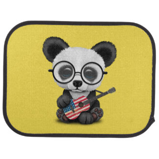 Baby Panda Playing American Flag Guitar Car Mat