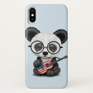 Baby Panda Playing American Flag Guitar iPhone X Case