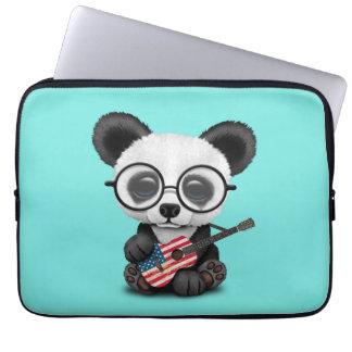 Baby Panda Playing American Flag Guitar Laptop Sleeve