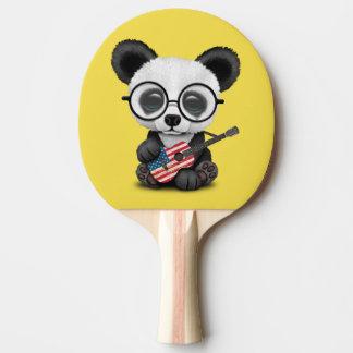 Baby Panda Playing American Flag Guitar Ping Pong Paddle