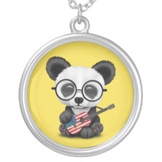 Baby Panda Playing American Flag Guitar Silver Plated Necklace