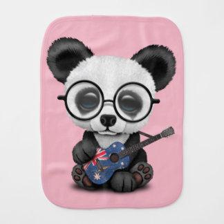 Baby Panda Playing Australian Flag Guitar Burp Cloth