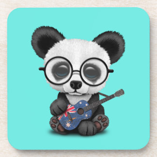 Baby Panda Playing Australian Flag Guitar Coaster