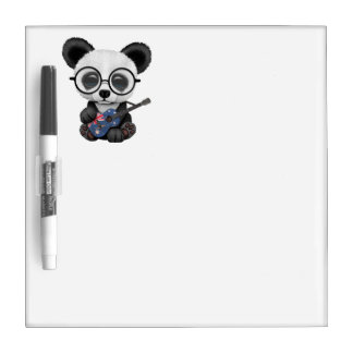 Baby Panda Playing Australian Flag Guitar Dry Erase Board