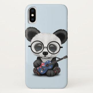 Baby Panda Playing Australian Flag Guitar iPhone X Case