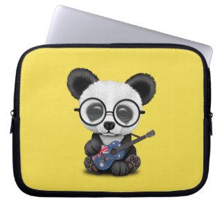 Baby Panda Playing Australian Flag Guitar Laptop Sleeve