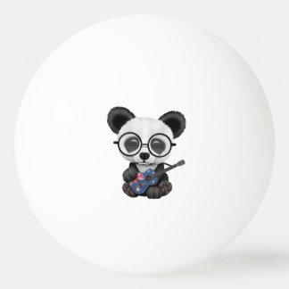 Baby Panda Playing Australian Flag Guitar Ping Pong Ball