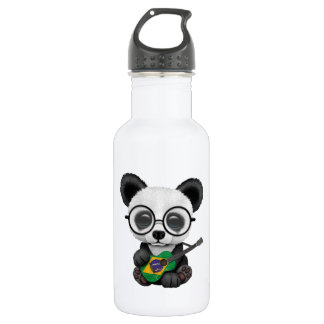 Baby Panda Playing Brazilian Flag Guitar 532 Ml Water Bottle
