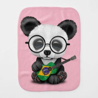 Baby Panda Playing Brazilian Flag Guitar Burp Cloth