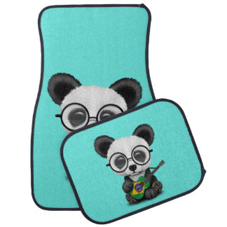 Baby Panda Playing Brazilian Flag Guitar Car Mat