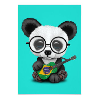 Baby Panda Playing Brazilian Flag Guitar Card