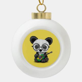 Baby Panda Playing Brazilian Flag Guitar Ceramic Ball Christmas Ornament