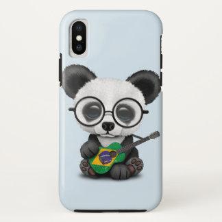 Baby Panda Playing Brazilian Flag Guitar iPhone X Case