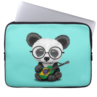Baby Panda Playing Brazilian Flag Guitar Laptop Sleeve