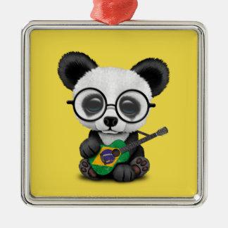 Baby Panda Playing Brazilian Flag Guitar Metal Ornament