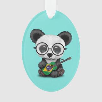 Baby Panda Playing Brazilian Flag Guitar Ornament