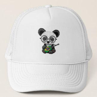 Baby Panda Playing Brazilian Flag Guitar Trucker Hat