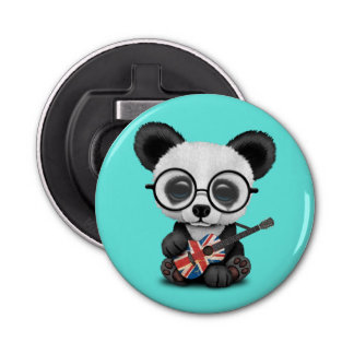 Baby Panda Playing British Flag Guitar Bottle Opener