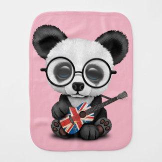 Baby Panda Playing British Flag Guitar Burp Cloth