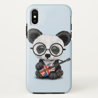 Baby Panda Playing British Flag Guitar iPhone X Case